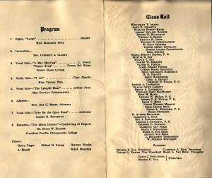 1925 PCC graduation class program